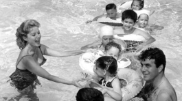 Swim party for Cerebral Palsy children in the pool (with Lang Jeffries), June 22