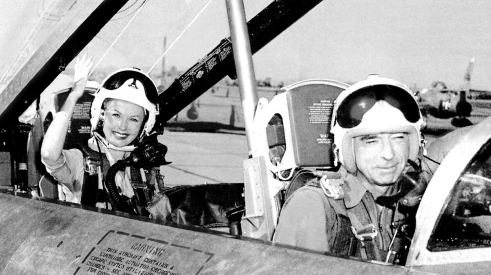 With test pilot Chuck Yeager in a jet