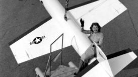 On a Lockheed X-7 test jet, Los Angeles, Nov.