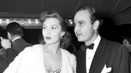 With date A. C. Lyles, head of the advertising department at Pine-Thomas Productions, at the premiere of SANDS OF IWO JIMA, Nov. 1949