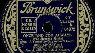 "Single: Bing Crosby and Rhonda Fleming: ""Once And For Always"" (Van Heusen, Burke)/""When Is Sometime"" (Van Heusen, Burke), Brunswick (04072), Shellac, 10"", 78 RPM"