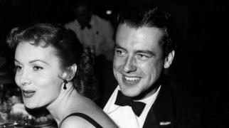 With date, actor Richard Greene, Dec. 12, 1950