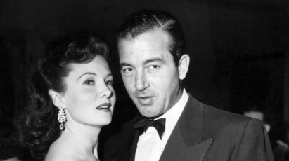 With date, actor John Payne, March 3, 1951