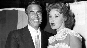 With millionaire Allen Chase at the premiere of AWAY ALL BOATS, Los Angeles, June 29, 1956 (in a relationship from June 1956 untill Aug. 1956)