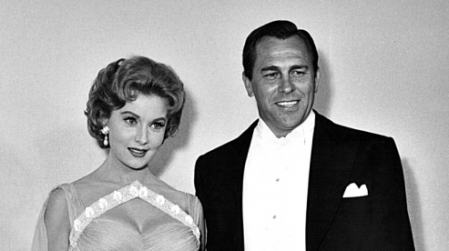 """Singing """"A Very Precious Love"""" with Howard Keel at the RKO Pantages Theatre, Apr. 6"""